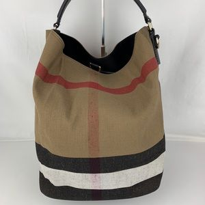 New Burberry Medium Ashby Check Print Tote Bag